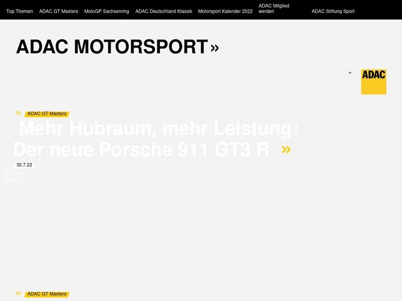 Screenshot von www.adac-motorsport.de